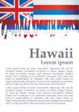 Bandeira de Havaí, estado de Havaí, Estados Unidos da América Molde para o projeto da concessão, um documento oficial com a bande ilustração do vetor