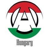 Bandeira de Hungria do mundo sob a forma de um sinal da anarquia ilustração stock