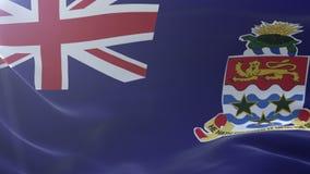 Bandeira de Ilhas Caimão que acena no mastro de bandeira no vento, símbolo nacional da liberdade ilustração do vetor