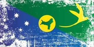 Bandeira de Ilhas Christmas Pontos sujos enrugados ilustração do vetor