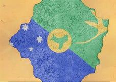 A bandeira de Ilhas Christmas rachou o furo e bandeira quebrada na fachada concreta grande Imagens de Stock