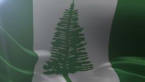 Bandeira de Ilhas Norfolk que acena no mastro de bandeira no vento, símbolo nacional da liberdade ilustração do vetor