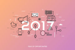 Bandeira de Infographic, 2017 - ano de oportunidades Tendências, previsões e expectativas em tecnologias sociais dos meios ilustração do vetor