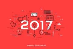 Bandeira de Infographic, 2017 - ano de oportunidades Tendências, previsões e expectativas em tecnologias sociais dos meios ilustração stock