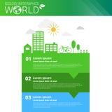 Bandeira de Infographics da ecologia da energia do verde da proteção ambiental do mundo com espaço da cópia Imagens de Stock