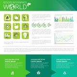 Bandeira de Infographics da ecologia da energia do verde da proteção ambiental do mundo com espaço da cópia ilustração stock