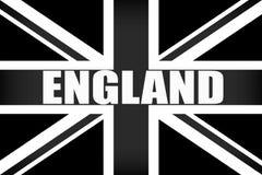 Bandeira de Inglaterra com o ` de INGLATERRA do ` da palavra em preto e branco ilustração stock