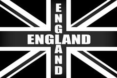 Bandeira de Inglaterra com o ` de INGLATERRA do ` da palavra em preto e branco ilustração do vetor