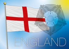 Bandeira de Inglaterra com símbolo cor-de-rosa do tudor Fotografia de Stock Royalty Free