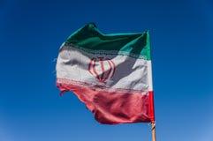Bandeira de Irã que acena no vento Fotos de Stock Royalty Free