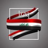 Bandeira de Iraque Cores nacionais oficiais Fita realística do iraquiano 3d Sinal patriótico da listra da bandeira da glória do v ilustração royalty free