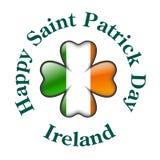 Bandeira de Ireland com o trevo de quatro folhas ilustração do vetor