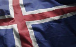 A bandeira de Islândia emaranhou próximo acima foto de stock
