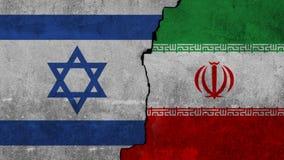 Bandeira de Israel e de Irã pintados na parede fotografia de stock royalty free