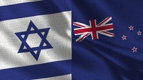 Bandeira de Israel e de Nova Zelândia - duas bandeiras junto fotos de stock