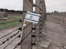 Bandeira de Israel na cerca do campo de concentração Imagem de Stock Royalty Free