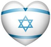 Bandeira de Israel na forma do coração Foto de Stock Royalty Free