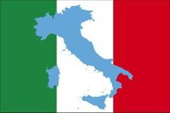 Bandeira de Italy com mapa azul Imagem de Stock
