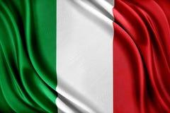 Bandeira de Italy Bandeira com uma textura de seda lustrosa fotos de stock