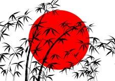 Bandeira de Japão e de bambu ilustração do vetor