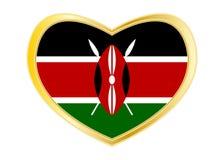 Bandeira de Kenya na forma do coração, quadro dourado Imagens de Stock