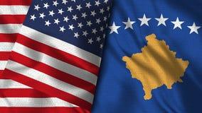 Bandeira de Kosovo e de EUA - 3D bandeira da ilustração dois ilustração stock