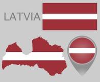 Bandeira de Letónia, mapa e ponteiro do mapa ilustração royalty free