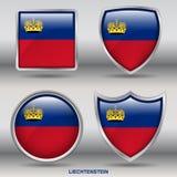 Bandeira de Liechtenstein na coleção de 4 formas com trajeto de grampeamento Fotografia de Stock
