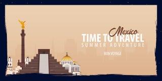 Bandeira de México Hora de viajar Viagem, viagem e férias Ilustração lisa do vetor Imagem de Stock