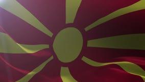 Bandeira de Macedônia que acena no mastro de bandeira no vento, símbolo nacional da liberdade ilustração royalty free