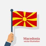 Bandeira de Macedônia que guarda à disposição Fotografia de Stock Royalty Free