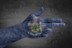 A bandeira de Maine do estado de E.U. pintou na mão masculina como uma arma foto de stock royalty free