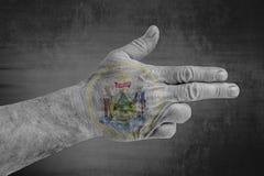 A bandeira de Maine Seal do estado de E.U. pintou na mão masculina como uma arma imagens de stock
