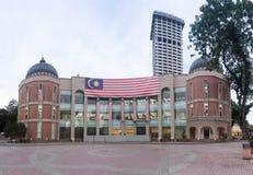 Bandeira de Malásia em Kuala Lumpur Memorial Library imagem de stock
