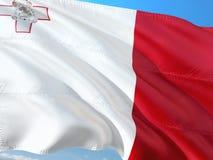 Bandeira de Malta que acena no vento contra o c?u azul profundo Tela de alta qualidade imagens de stock