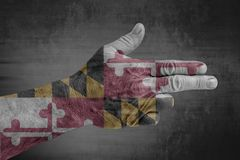 A bandeira de Maryland do estado de E.U. pintou na mão masculina como uma arma fotografia de stock royalty free