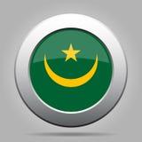 Bandeira de Mauritânia Botão redondo cinzento do metal brilhante Fotos de Stock Royalty Free