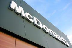 Bandeira de McDonalds Fotografia de Stock Royalty Free