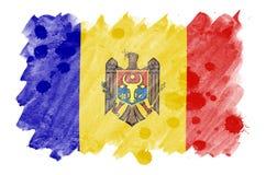 A bandeira de Moldova é descrita no estilo líquido da aquarela isolada no fundo branco ilustração royalty free