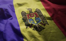 A bandeira de Moldova emaranhou próximo acima imagens de stock