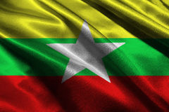 Bandeira de Myanmar, símbolo da ilustração da bandeira nacional 3D de 3D Myanmar, Burma Fotos de Stock Royalty Free