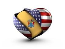 Bandeira de New-jersey do estado dos EUA no fundo branco Foto de Stock Royalty Free