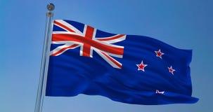 Bandeira de Nova Zelândia no vento contra o céu azul claro, ilustração 3d ilustração royalty free