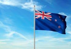 Bandeira de Nova Zelândia que acena com o céu na ilustração 3d realística do fundo ilustração stock