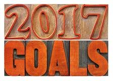 bandeira de 2017 objetivos no tipo de madeira Fotos de Stock Royalty Free