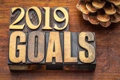 bandeira de 2019 objetivos no tipo de madeira Imagens de Stock Royalty Free