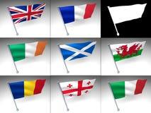 Bandeira de oito bandeiras de Europa em um pólo ilustração do vetor