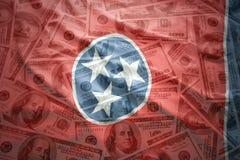 Bandeira de ondulação colorida do estado de tennessee em um fundo americano do dinheiro do dólar Fotografia de Stock Royalty Free