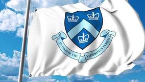 Bandeira de ondulação com emblema da Universidade de Columbia grampo do editorial 4K vídeos de arquivo