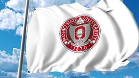 Bandeira de ondulação com emblema da universidade estadual do ohio grampo do editorial 4K filme